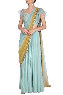 Aqua Embroidered Drape Lehenga Set by K-ANSHIKA Jaipur
