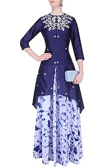 Navy Blue Gota Patti High Low Kurta with Marble Dyed Skirt by K-ANSHIKA Jaipur