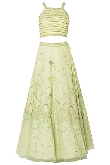 Lime Green Embroidered Frill Lehenga Set
