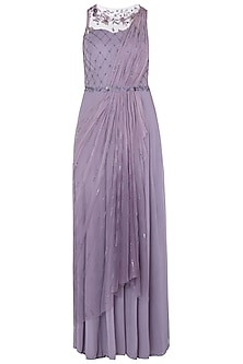 Lilac Embroidered Draped Saree Gown by K-ANSHIKA Jaipur