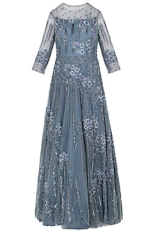 Ice Blue Asymmetrical Embellished Gown