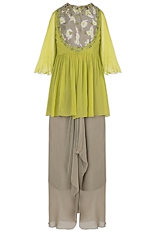 Green Embroidered Cape Top with Drape Skirt