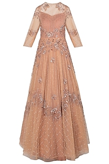 Peach Embellished Asymmetrical Gown