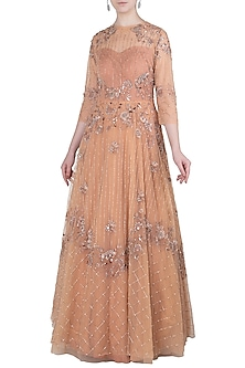 Peach Embellished Asymmetrical Gown by K-ANSHIKA Jaipur