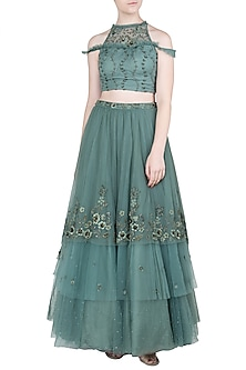 Moss Green Embellished Top with Skirt by K-ANSHIKA Jaipur