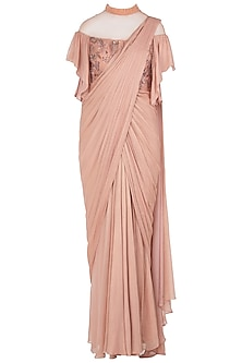 Peach Asymmetrical Embroidered Saree Gown