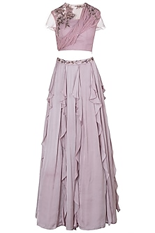 Onion Pink Embellished Crop Top with Ruffled Skirt by K-ANSHIKA Jaipur