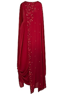 Maroon Embellished Cowl Dress