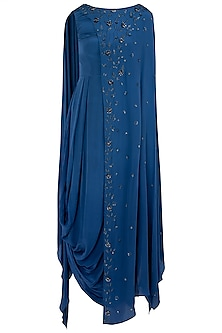 Indigo Blue Embellished Cowl Dress