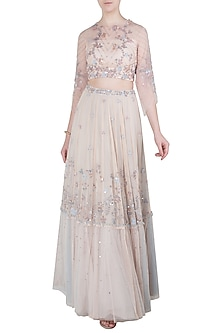 Peach Embellished Crop Top with Tiered Skirt by K-ANSHIKA Jaipur