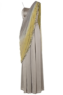 Grey Bustier with Attached Dupatta and Palazzo Pants by K-ANSHIKA Jaipur