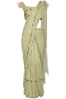 Pistachio embroidered saree set