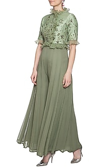 Pistachio embroidered jumpsuit with jacket by K-ANSHIKA Jaipur