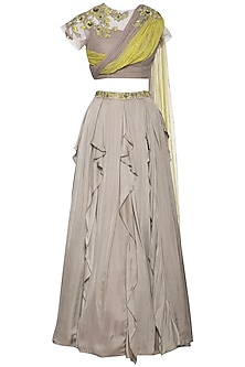 Grey embroidered lehenga skirt with drape blouse