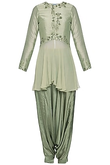 Pistachio embroidered peplum top with pants by K-ANSHIKA Jaipur