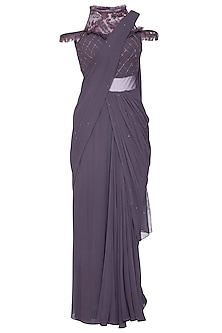 Violet embroidered draped saree gown