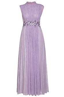 Lilac embroidered gathered gown