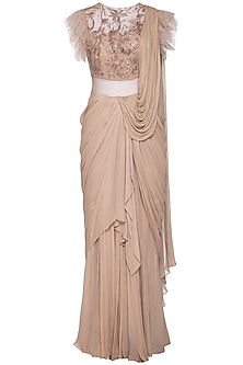 Beige embroidered draped saree gown