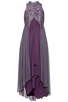 Violet dress with draped jacket