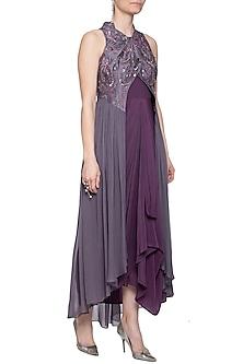 Violet dress with draped jacket by K-ANSHIKA Jaipur