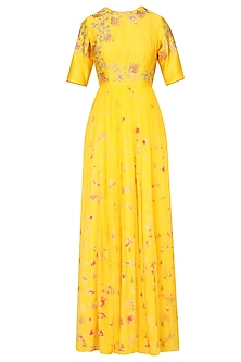 Mango Yellow Floral Embroidered Marble Dyed Anarkali Set
