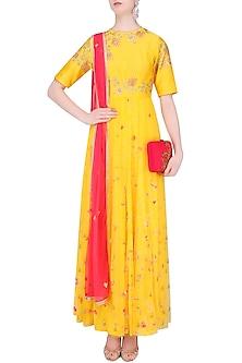 Mango Yellow Floral Embroidered Marble Dyed Anarkali Set by K-ANSHIKA Jaipur