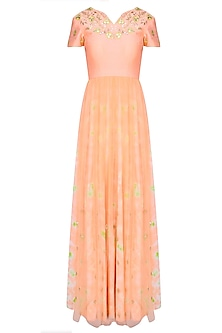 Peach Floral Embroidered Marble Dyed Anarkali Set