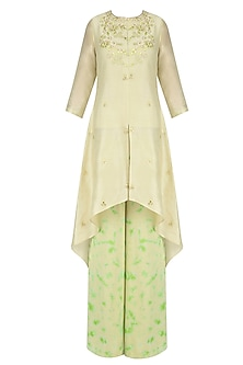 Off White Gota Patti Work C Cut Kurta with Green Palazzo Pants by K-ANSHIKA Jaipur