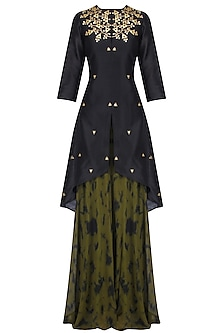Black Gota Patti Work C Cut Kurta with Skirt by K-ANSHIKA Jaipur