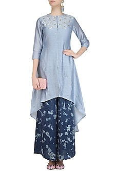 Grey Gota Patti Work C Cut Kurta with Palazzo Pants by K-ANSHIKA Jaipur