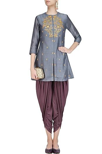 Dark Grey Thread Embroidered Kurta with Dhoti Pants by K-ANSHIKA Jaipur