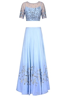 Powder Blue Floral Embroidered Crop Top and Ombre Shaded Skirt Set by K-ANSHIKA Jaipur