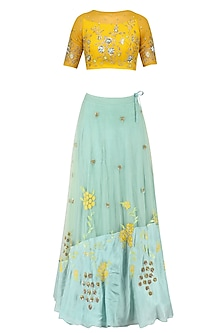 Mustard Yellow Floral Embroidered Crop Top and Aqua Blue Skirt Set