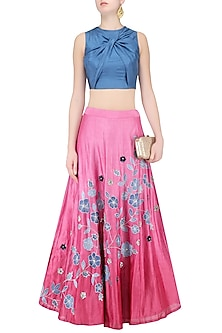 Stone Blue Twisted Crop Top with Onion Pink Floral Work Skirt by K-ANSHIKA Jaipur