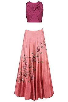 Maroon Crossover Crop Top with Dusty Rose Ombre Shaded Skirt by K-ANSHIKA Jaipur