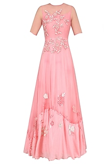 Pale Pink Floral Embroidered Flared Gown