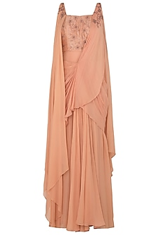 Dusty Peach Draped Sari Gown with Matching Peach Blouse