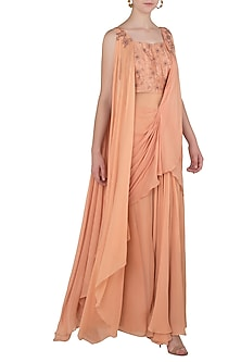Dusty Peach Draped Sari Gown with Matching Peach Blouse by K-ANSHIKA Jaipur
