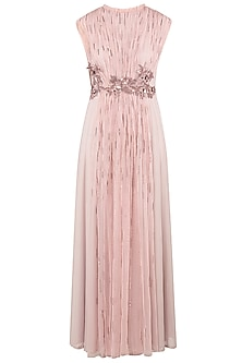 Onion Pink Gathered Net Gown