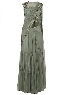 Moss Green Tiered Sari with Net Cut Out Blouse