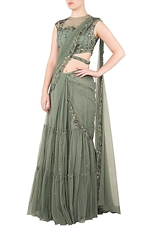 Moss Green Tiered Sari with Net Cut Out Blouse by K-ANSHIKA Jaipur
