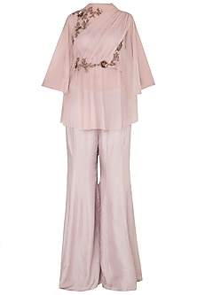 Onion Pink Net Draped Top with Flared Pants