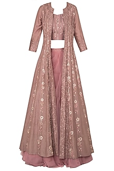Mauv South Silk Jacket Set