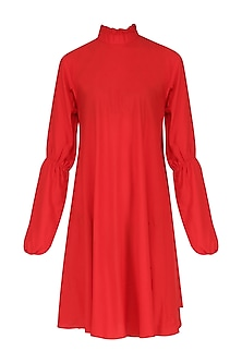 Red Ruffled Collar Dress