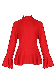 Red Basic Peplum Top