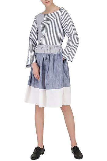 White and Blue Patterned Dress by Knotty Tales
