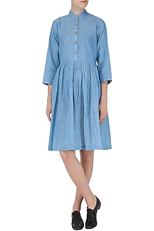 Powder Blue Pleated Dress by Knotty Tales