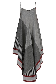 Grey Asymmetric Geormetric Pattern Dress by Knotty Tales