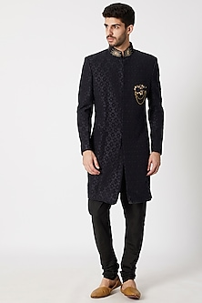 Navy Blue & Black Embroidered Sherwani Set by Kommal Sood