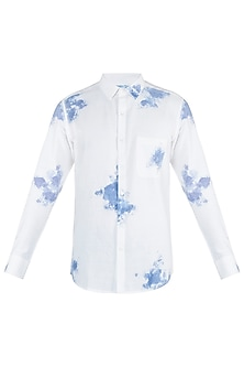 Off White and indigo painted shirt